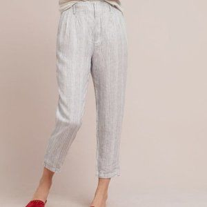 Anthropologie Linen Pants Blue White Striped sz 31